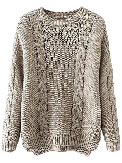 High Low Cable Knit Jumper Sweater - GRAY ONE SIZE Mobile