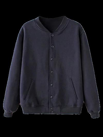 Button Up Baseball Jacket - PURPLISH BLUE M Mobile