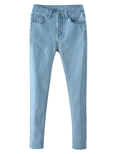 High Waisted Zip Fly Jeans - LIGHT BLUE M Mobile