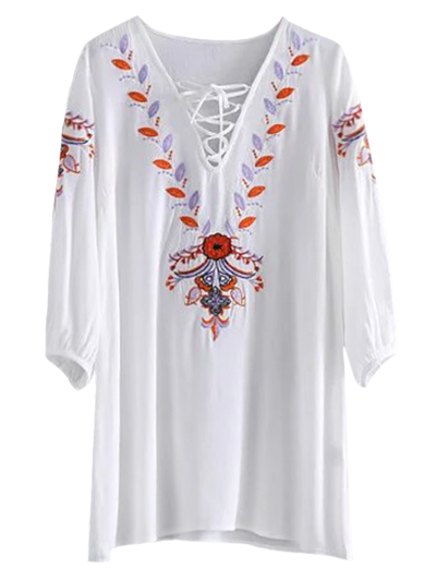 Embroidered Lace Up  Mini Tunic Dress - WHITE L Mobile
