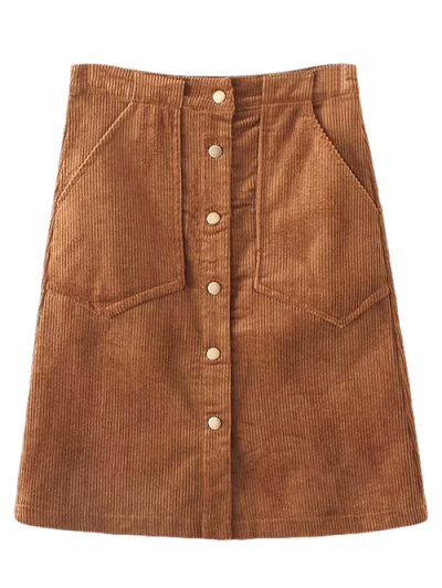 High Waist Single Breasted A-Line Skirt - BROWN L Mobile
