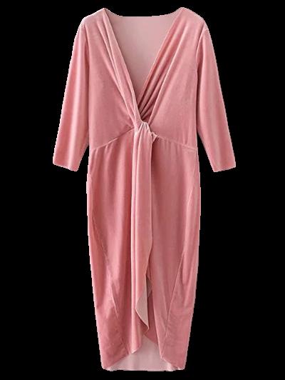 Asymmetric Velvet Midi Dress - PINK M Mobile