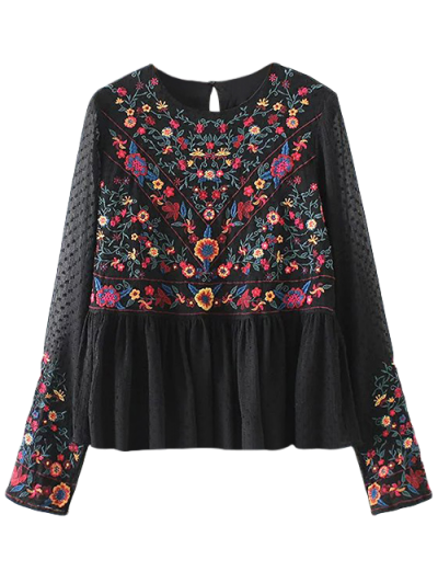 Embroidered Floral Flounce Blouse - BLACK L Mobile