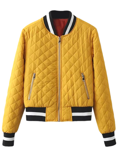 Zip Up Padded Pilot Jacket - YELLOW M Mobile