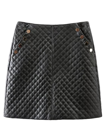 Rivet PU Leather Bodycon Skirt - BLACK M Mobile