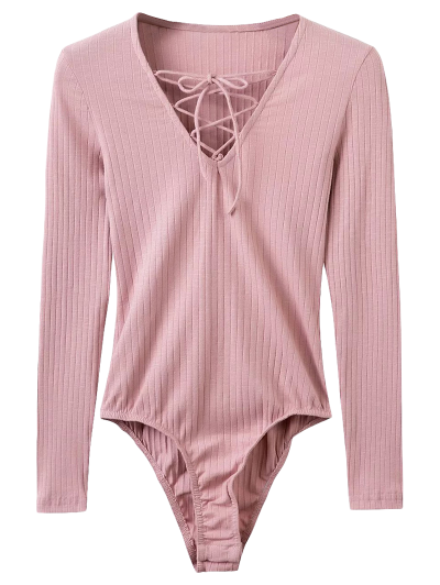 Skinny Ribbed Lace Up Bodysuit - PINK M Mobile