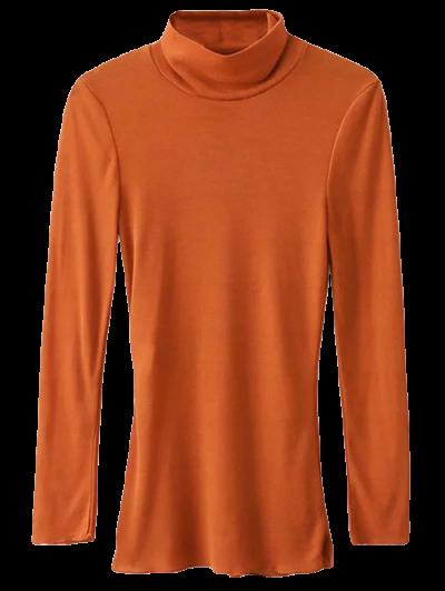 Funnel Neck Fitted Side Slit T-Shirt - ORANGE S Mobile