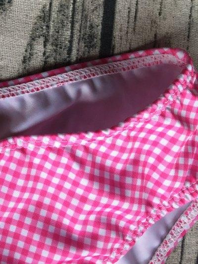Side Tie Halter Plaid Bikini Set - PLUM L Mobile