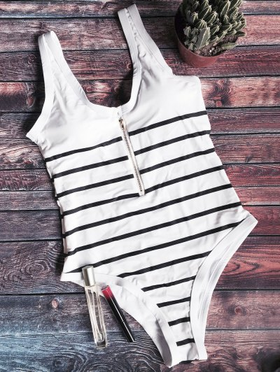Zip Front Striped Swimsuit - WHITE AND BLACK M Mobile
