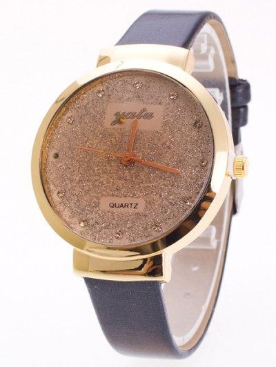 Rhinestone Glitter Quartz Watch - BLACK  Mobile