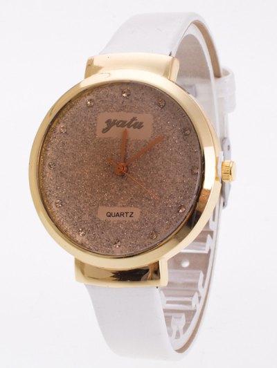 Rhinestone Glitter Quartz Watch - WHITE  Mobile