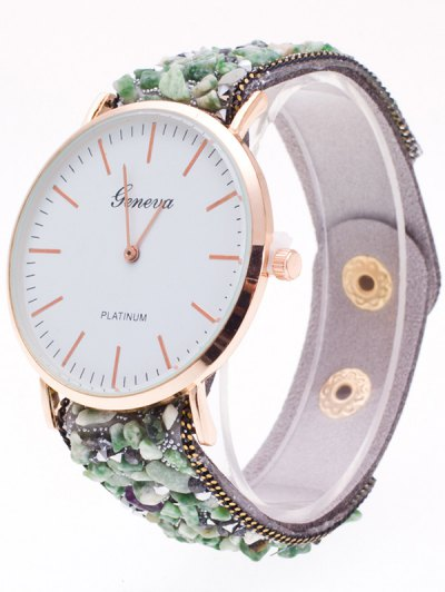 Faux Stone Studded Analog Watch - GRAY  Mobile