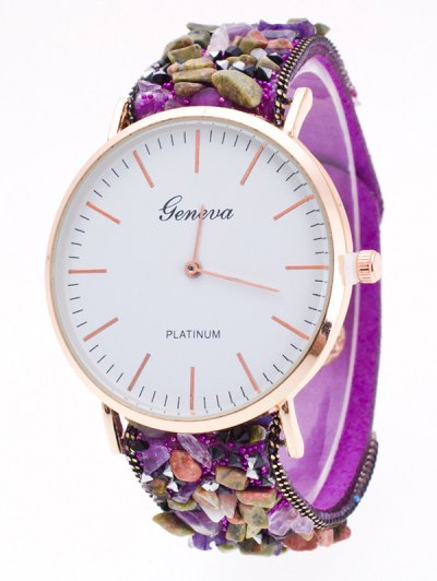 Faux Stone Studded Analog Watch - PURPLE  Mobile