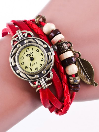 Faux Leather Strand Bracelet Watch - RED  Mobile