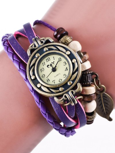 Faux Leather Strand Bracelet Watch - PURPLE  Mobile