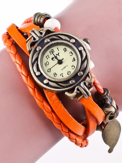 Faux Leather Strand Bracelet Watch - ORANGEPINK  Mobile