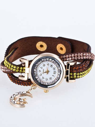 Rhinestone Studded Bracelet Watch - COFFEE  Mobile