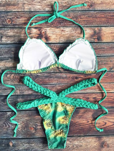Scalloped Leopard Print Braid Waist Bikini Set - GREEN XL Mobile