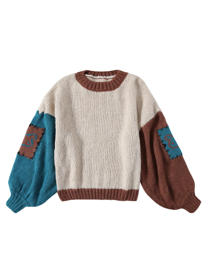 Patched Slash Neck Color Block Sweater - KHAKI ONE SIZE Mobile