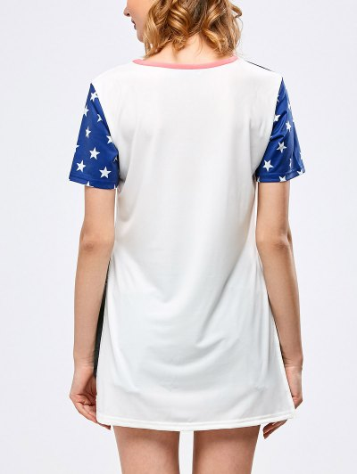Side Slit Graphic Star Tunic T-Shirt - WHITE M Mobile