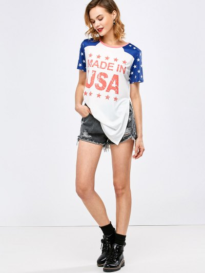 Side Slit Graphic Star Tunic T-Shirt - WHITE S Mobile