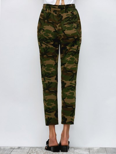 Camo Drawstring Pants - ARMY GREEN M Mobile