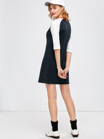 Raglan Sleeve Tunic T-Shirt Dress - PURPLISH BLUE 2XL Mobile