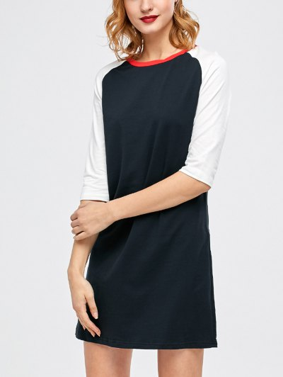 Raglan Sleeve Tunic T-Shirt Dress - PURPLISH BLUE L Mobile