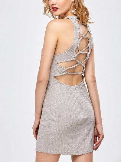 Lace Up Backless Fitted Dress - LIGHT GRAY XL Mobile