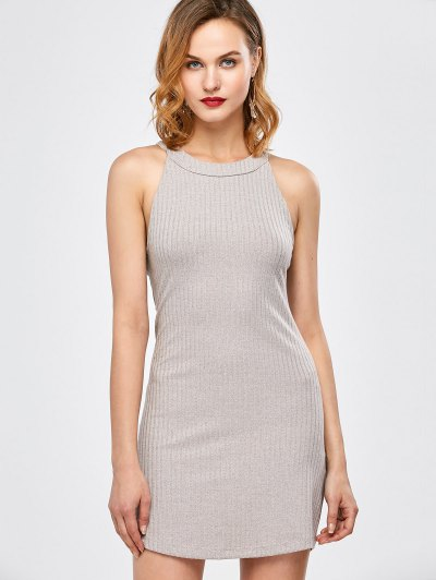 Lace Up Backless Fitted Dress - LIGHT GRAY L Mobile