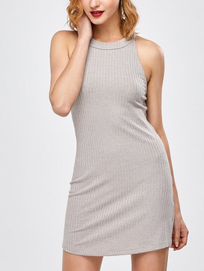 Lace Up Backless Fitted Dress - LIGHT GRAY S Mobile