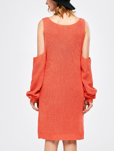 Distressed Cold Shoulder Chunky Sweater Dress - WATERMELON RED XL Mobile