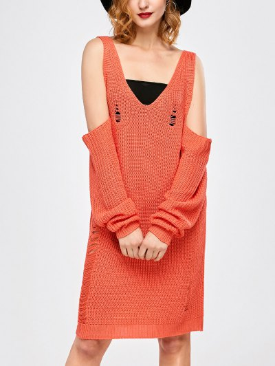 Distressed Cold Shoulder Chunky Sweater Dress - WATERMELON RED S Mobile