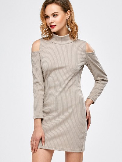 Mock Neck Cold Shoulder Fitted Knitted Dress - LIGHT GRAY S Mobile