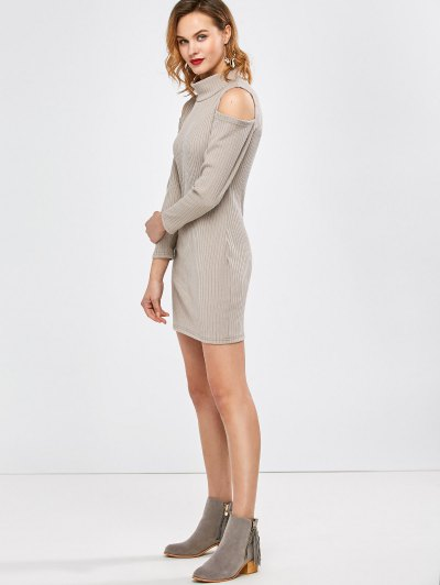 Mock Neck Cold Shoulder Fitted Knitted Dress - LIGHT GRAY S Mobile