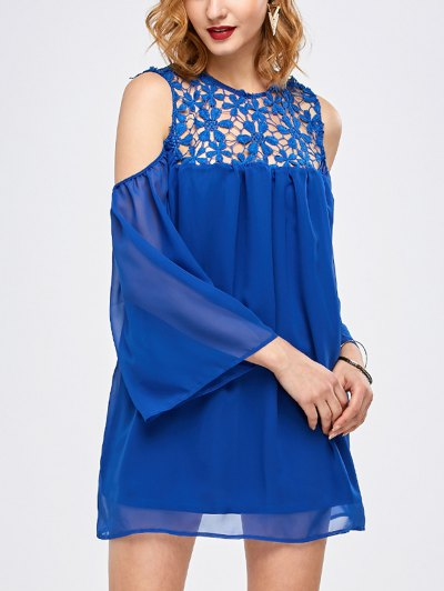 Cold Shoulder Lace Chiffon Tunic Blouse - BLUE L Mobile