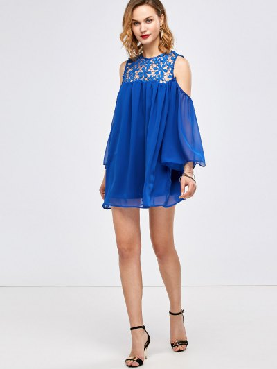 Cold Shoulder Lace Chiffon Tunic Blouse - BLUE S Mobile