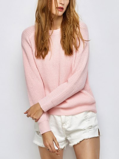Chunky Back Zipper Sweater - LIGHT PINK XL Mobile