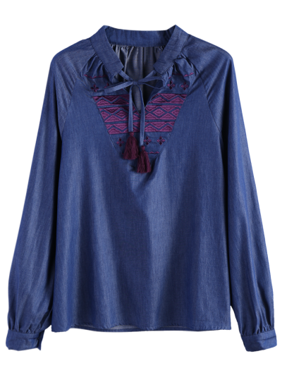 Embroidered Bib Denim Blouse - DENIM BLUE 2XL Mobile
