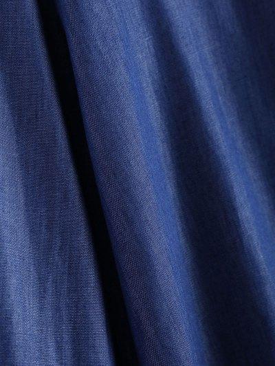 Embroidered Bib Denim Blouse - DENIM BLUE XL Mobile