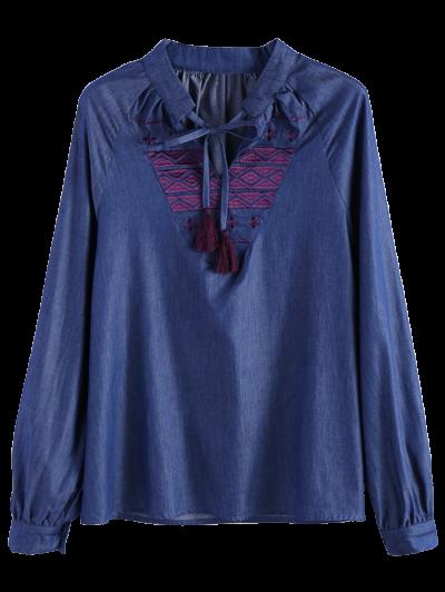 Embroidered Bib Denim Blouse - DENIM BLUE L Mobile