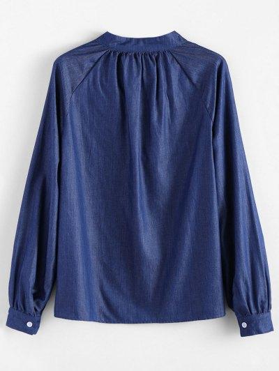 Embroidered Bib Denim Blouse - DENIM BLUE S Mobile