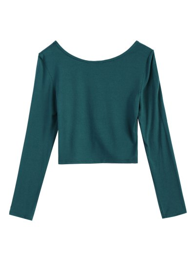 Cropped Plunge Tee - GREEN 2XL Mobile