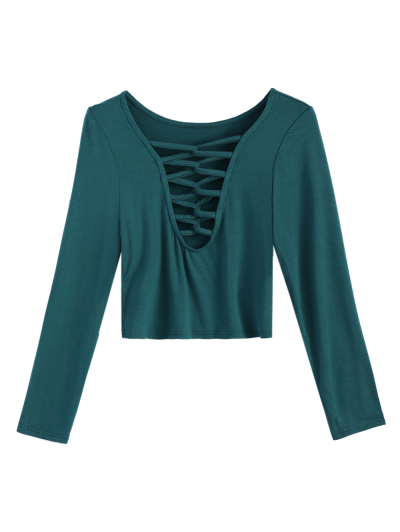 Cropped Plunge Tee - GREEN L Mobile