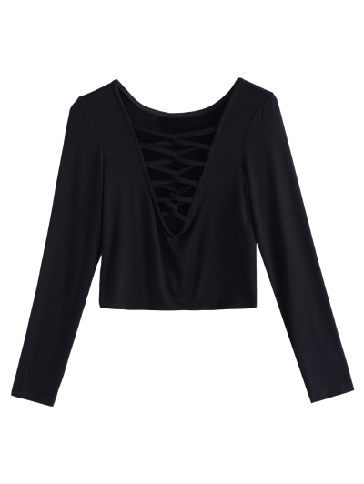 Cropped Plunge Tee - BLACK M Mobile