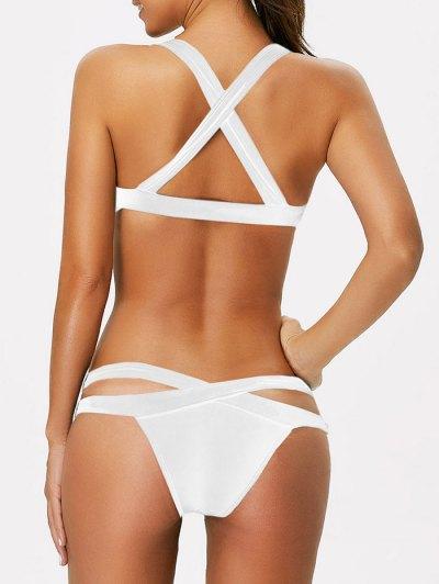 Strappy Bandage Scoop Bikini - WHITE L Mobile