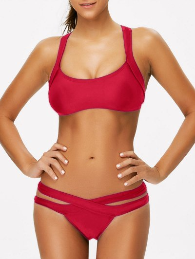 Strappy Bandage Scoop Bikini - RED M Mobile