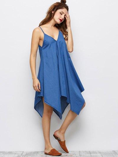 Cami Hanky Hem Denim Slip Dress - DENIM BLUE XL Mobile