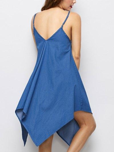 Cami Hanky Hem Denim Slip Dress - DENIM BLUE L Mobile