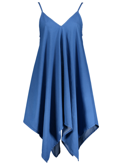 Cami Hanky Hem Denim Slip Dress - DENIM BLUE M Mobile